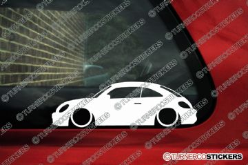 2x Low car outline stickers - for VW Beetle (2012-present) volkswagen VAG